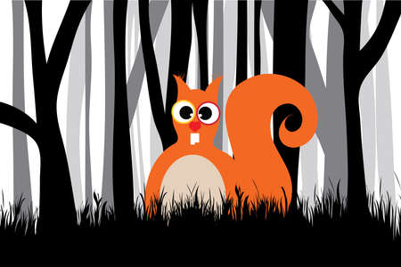 Vector silhouette of forest black and white with squirrel. Symbol of animal.