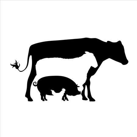 Vector illustration of set of farm animals. Symbol of breeding.