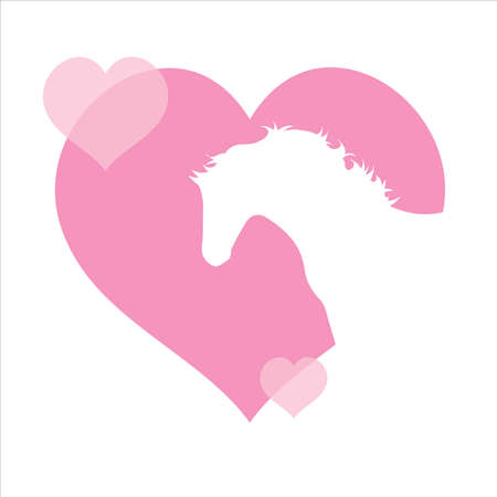 Vector illustration of heart with horse. Symbol of animal, care and love.