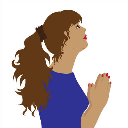 Vector illustration of praying woman by profile. Symbol of religion and hope. 向量圖像