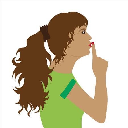 Vector illustration of woman by profile with silence gesture. Symbol of calm and stop talk.