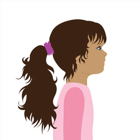 Vector illustration of child by profile. Symbol of girl and childhood.