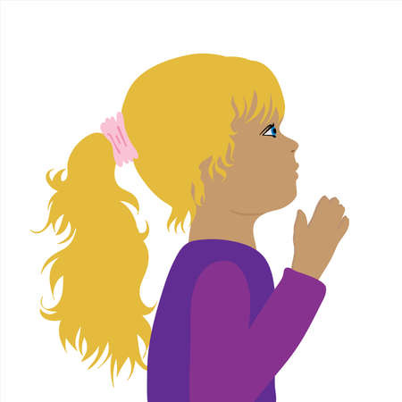 Vector illustration of praying child by profile. Symbol of girl, childhood and religion.