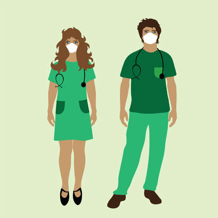 Illustration of couple of doctors. Symbol of medical care and hospital.