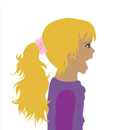 Vector illustration of crying child by profile. Symbol of girl and childhood.