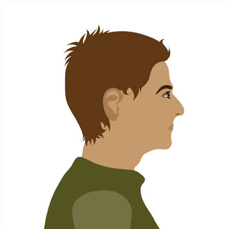 Vector illustration of man by profile. Symbol of adult and person.