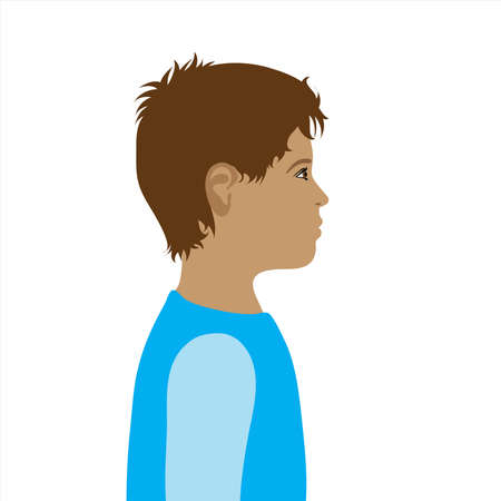 Vector illustration of child by profile. Symbol of boy and childhood.