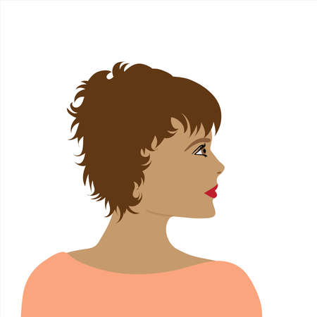 Vector illustration of woman by profile. Symbol of beauty.