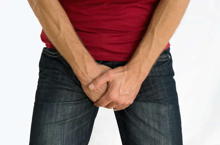 Man with incontinence, prostate, infection problem. 版權商用圖片