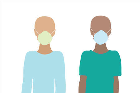 Couple of illustration of boys with medical mask. Symbol of children and cancer. 向量圖像