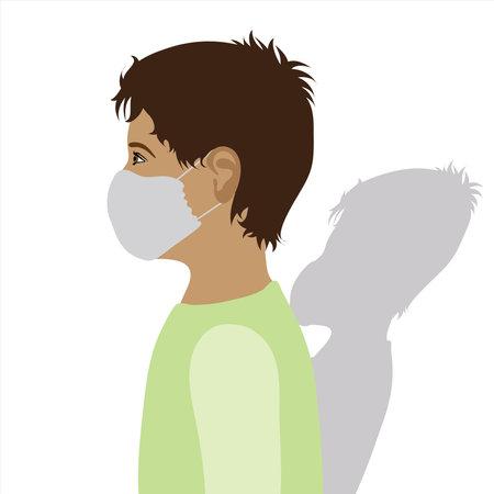 Illustration of boy with medical mask.