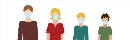 Illustration of family with medical mask.