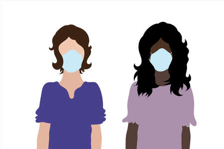 Couple of illustration of women with medical mask. 向量圖像