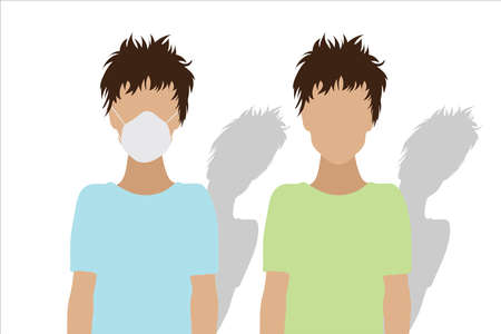 Couple of illustration of boys with medical mask.