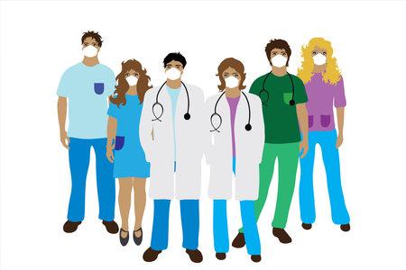 Illustration of team of hospital staff with medical mask. 向量圖像