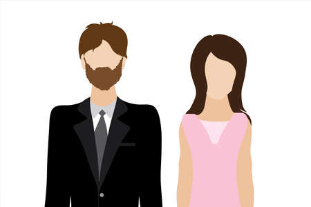 Couple of illustration of man and woman. Symbol of fashion and marriage. 向量圖像