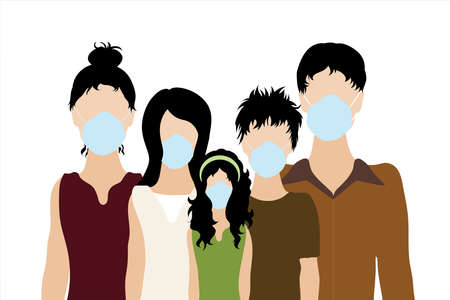 Illustration of Asian family with medical mask.