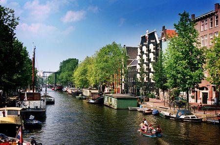 dutch canal house: Holland, Amsterdam