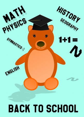 Back to school bear with hat and words photo