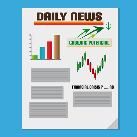 Daily Investment News With Graph And Text Vector