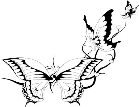 tattoo butterfly: illustrazione astratta di farfalle su un tribale Vettoriali
