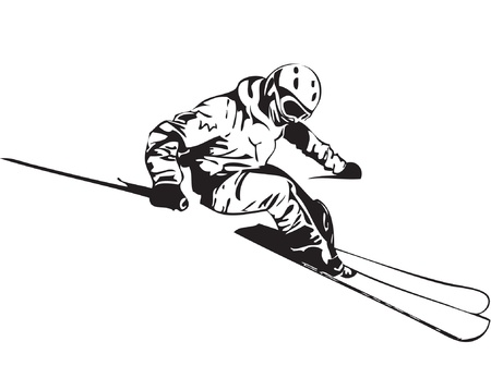 ski goggles: illustration of skier