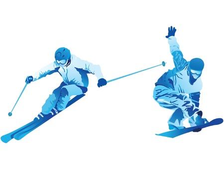 ski jump: illustration of snowborder and skier