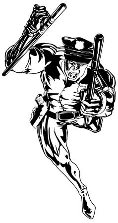 tough man: illustration of angry policeman running