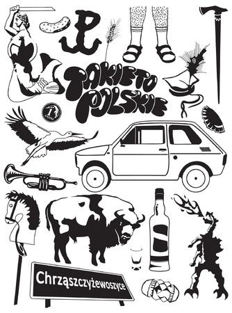 polish symbols mosaic illustration Vetores