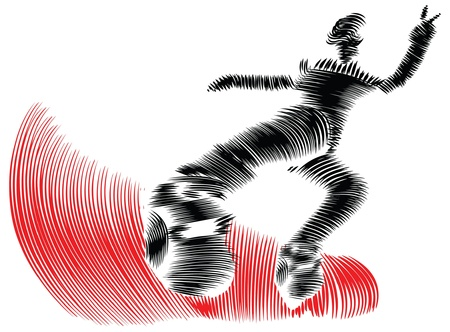 bindings: abstract illustration of snowboarder