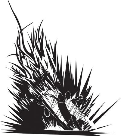 windsurf: ilustración abstracta de windsurfista en el fondo tribal Vectores