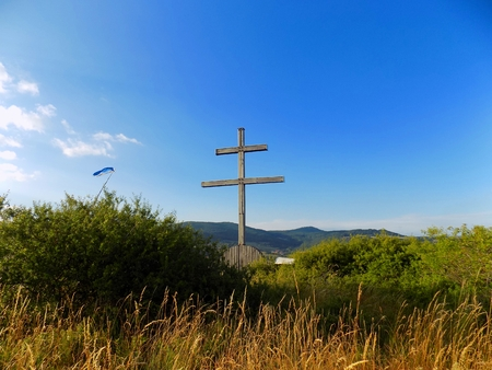 double cross: Wood double cross Slovak national symbol in nature Stock Photo