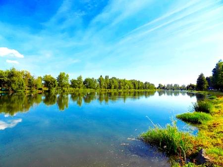 reflexion: Lago con la reflexi�n, �rboles y cielo