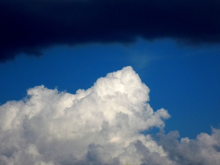 convection: Cumulonimbus convective cloud indicating storm formation through low pressure system in unstable atmosphere during summer Stock Photo