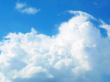 atmosphere: Cumulonimbus cloud during heat summer day indicating storm formation in unstable air mass (atmosphere) before cold front arrival