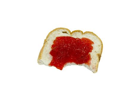 bite: isolated bite bread wth jam