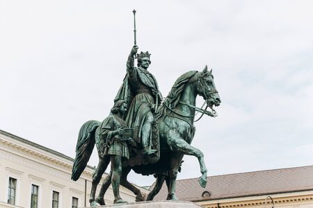 Germany, Munich - September 01, 2013. A monument of Ludwig the 1st of Bavaria, in the Leopoldstrasse.