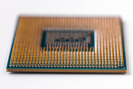 Modern processor for a computer or laptop close-up on a white background. Macro