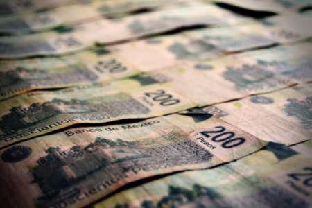 pesos: Paper bills of mexican pesos Stock Photo
