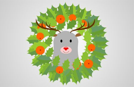 ecoration: Red- cheerful and kind like a deer with a wreath around his neck with a mane. And for a snack Mandarin.