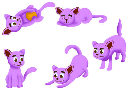 Cartoon cat set with different poses and emotions vector. Cat behavior, body language and face expressions. Pink Ginger kitty in simple cute style, isolated vector illustration.