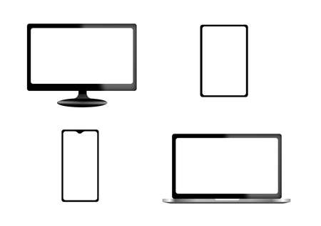 Realistic set of monitor, laptop, tablet, smartphone - Stock Vector illustrations. A computer monitor is an electronic device that shows pictures for computers. Stock Illustratie