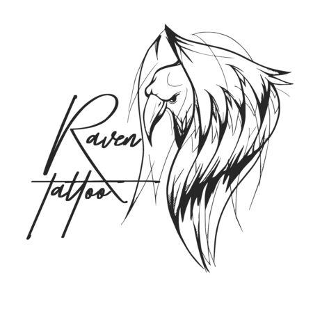Raven tattoo design Illustration