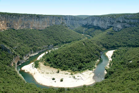 gorges: Isthmus in the Ardeche Gorges. Picture taken taken from an upper view point. -France