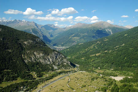 bardonecchia: From a mountain pass bordering the Hautes-Alpes departmment in France and the Piedmont Region in Italy, the picture shows of view of the Alps and the Bardonecchia area in the western part of the Susa Valley in the province of Turin.