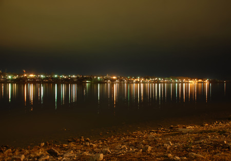 right bank: The right bank of the Volga River at night Stock Photo