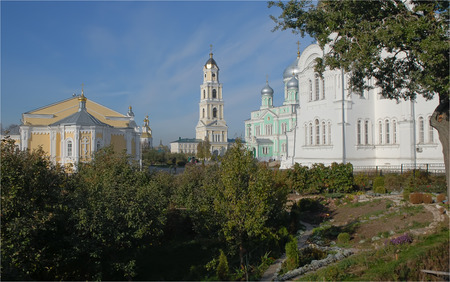 seraphim: Diveevo. Monastery of St. Seraphim of Sarov. View from the grooves Stock Photo
