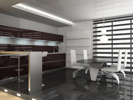 modern interior of dining room 3D