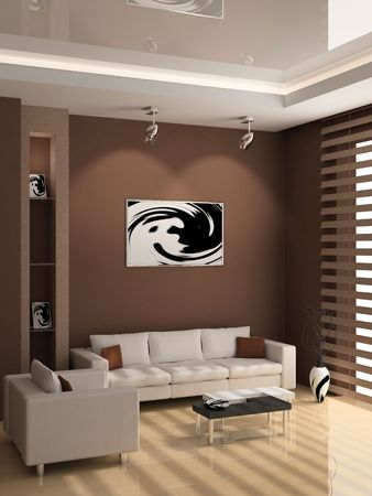 wood blinds: modern interior of living room 3D