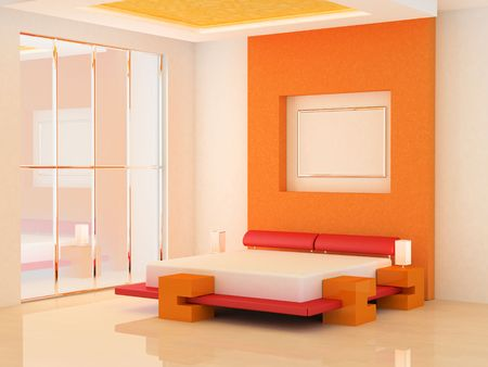 Modern scene of bedroom interior 3D photo